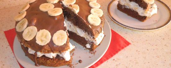 Czekoladowe ciasto z bananami
