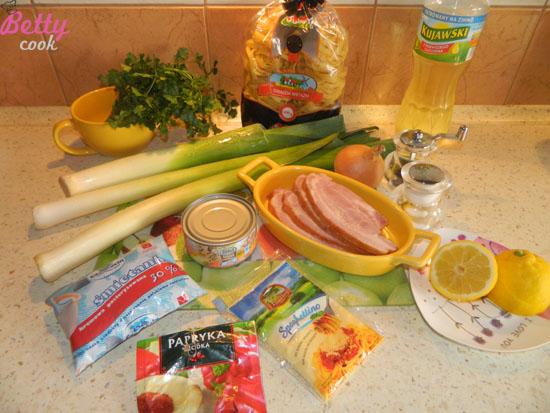 Makaron z tuńczykiem składniki