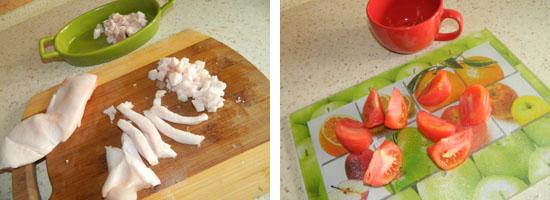 Kroimy słoninkę i pomidorki
