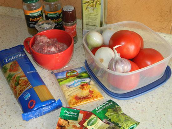 Spaghetti Bolognese składniki