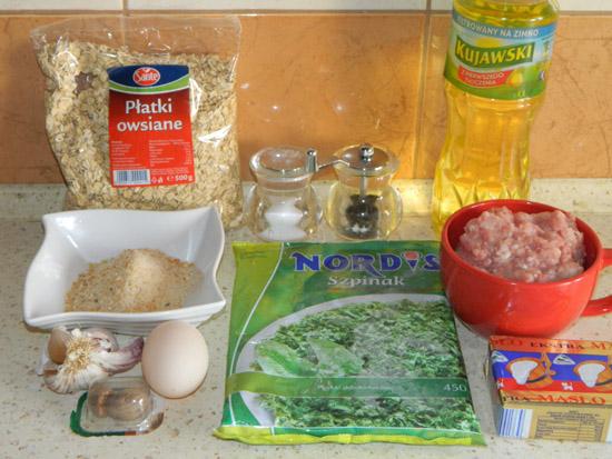Kotlety ze szpinakiem - składniki