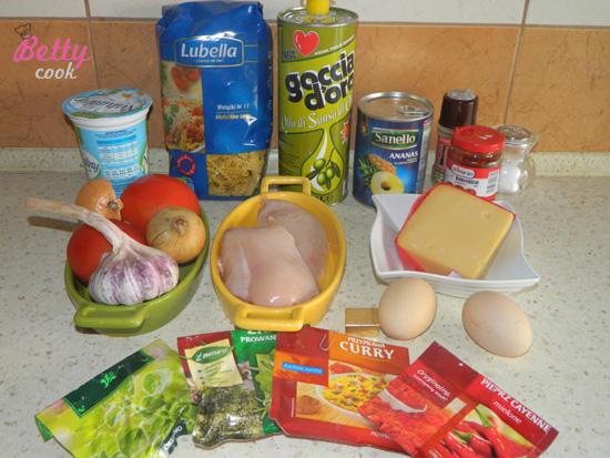 Zapiekanka makaronowa z kurczakiem - składniki